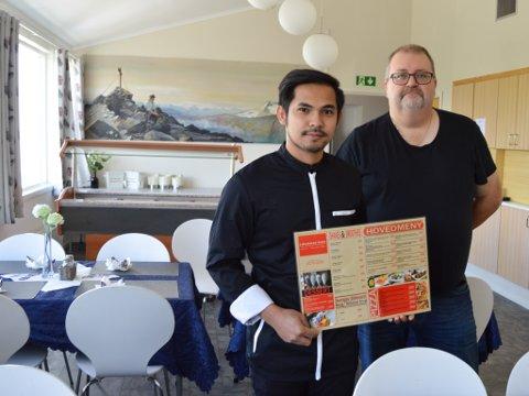 KONKURRANSE: Junnel Caliso Salaspi og Paul Tore Garvo starter opp ny restaurant. De er klar over at dette skaper konkurranse i bygda, hvor det allerede finnes ett spisested.