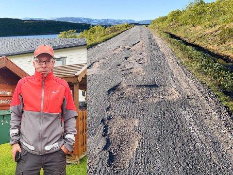 LIVSFARLIG: Postbud Rune Eriksen er bekymret for konsekvensene av det dårlige veivedlikeholdet i Tana.
