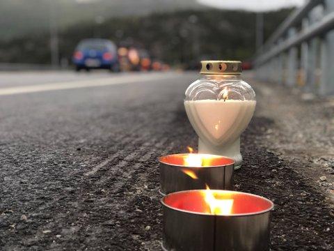 LYS: Det var satt opp lys langs veien i Alta sentrum.