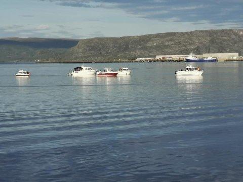 OMRINGET: Da Hvaldimir ble oppdaget i Alta i helgen, dro båter ut for å møte ham.