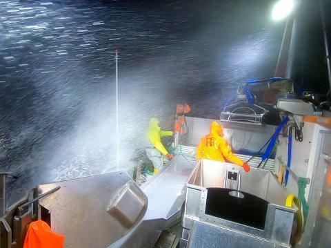 SJØSPRØYT: Det var ikke alle som valgt å bli liggende ved kai på mandag. Her er fiskere på fiske i Kamøyfjorden i sterk kuling/liten storm på mandag.