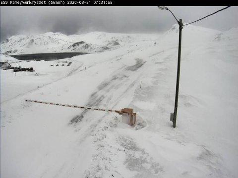 Slik ser det ut på E69 vedd Kamøyværkrysset tirsdag klokka 07.31.