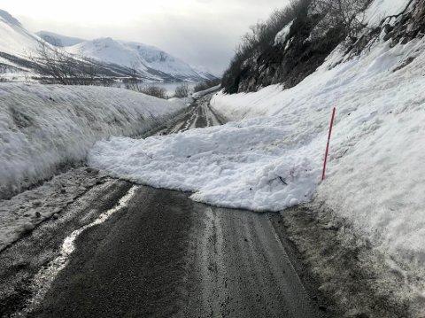 VÅTE SKRED: I fjor gikk dette snøskred over veien mellom Rivarbukt og Tappeluft i Alta kommune. Det er fare for at det kan gå flere skred av denne typen det neste døgnet flere steder i Finnmark.