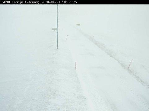 Slik ser det ut på fylkesvei 890 ved Gedjne tirsdag formiddag mens vi nærmer oss slutten av april.