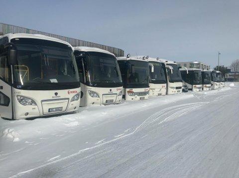 PARKERT: Her står flere av Boreals busser parkert i Alta.