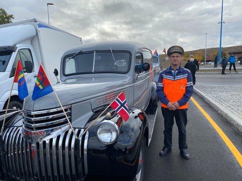 FØRSTEMANN: Birger Rajala var sjåfør for første bil over nybrua.