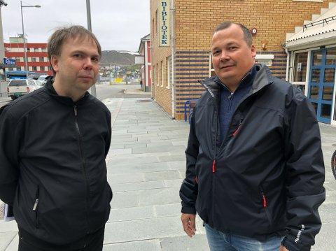 FIKK TILSKUDD: Daglig leder Steve Sivertsen og styreleder Roy Skog i Hammerfest Arena er glad for at kommunen innvilget ekstra midler til den nye storhallen. Foto: Trond Ivar Lunga