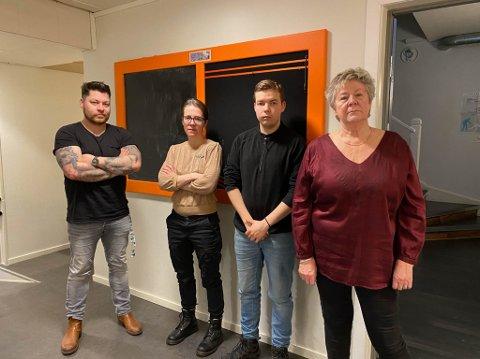 NOK ER NOK: Leder Tyra V. Mannsverk og styremedlemmene Jarand Harila, Ida Huru og Robert Lundgren i Vadsø SV stiller sine styreplasser til disposisjon og melder seg ut av partiet.
