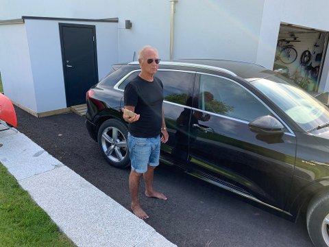 OPPGITT: Tor Halvorsen (74) fortviler, og mener noen har kastet stein på bilen hans.