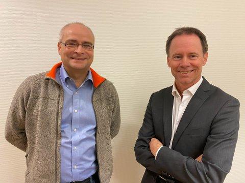 FORNØYD: Finansdirektør Alexander Krogh mener at anmeldelsen mot Nussir ASA var grunnløs. Her er han avbildet sammen med direktør Øystein Rushfeldt i Nussir ASA.