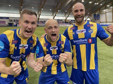 KUNNE LE SIST: Den tidligere TIL-trioen Morten Gamst Pedersen (f.v.), Hans Norbye og Tore Reginiussen jublet da Alta IF slo TIL ut av cupen.