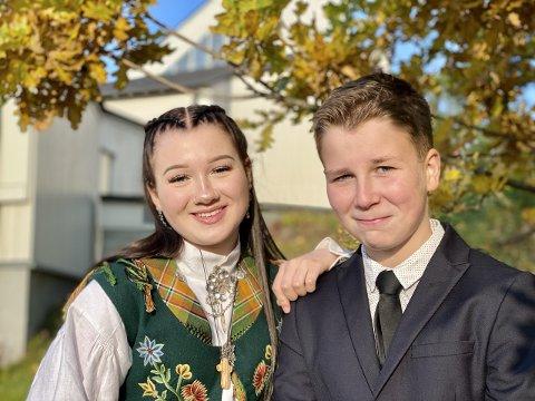 HOLDER SAMMEN: Andrea Reiertsen konfirmerte seg lørdag 3. oktober 2020. Til neste år er det lillebror Jørans tur.