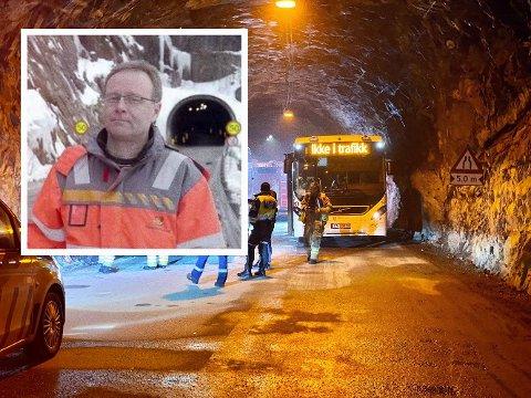 LETTET: – Tunnelsikkerhet har høy prioritet hos oss, men vi tillater oss fortsatt å være lettet når hendelser som i dag går såpass bra, sier seksjonsleder Tor Ivar Johnsen i Troms og Finnmark fylkeskommune.