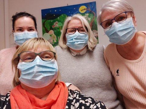 MÅTTE SPORE IGJEN: Her ser du smittesporingsteamet som jobbet i Kvæfjord i januar i år: Karina Karlsen, Torun Jensen, Kirsti Jensen og Kristin V. Håkonseth.