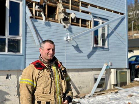 OVERSIKT: Brannmannskapet kom tidlig på plass og fikk oversikt over situasjonen, forteller vaktleder Pål Nilsen.