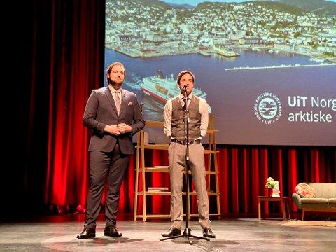 Leder Victor Zimmer i studentparlamentet og Rune Wito Olsen nestleder for Campustinget ved Uit under åpningen av UiT Harstad tidligere i høst