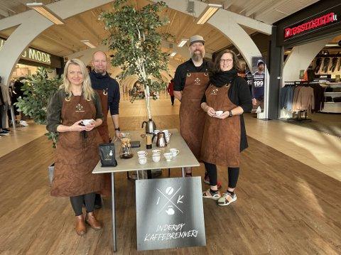 Inderøy Kaffebrenneri etablerer seg på Magneten under navnet Kaffekokeriet. Fra høyre: Silje Bragstad Hammer., Gaute Thomassen, Einun Skorem og  Hedda Skorem.