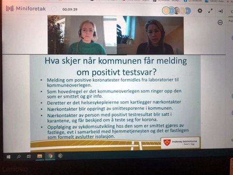 WEBINAR: Ordførere Ida Stuberg og kommuneoverlege Guri Falch informerte søndag om Inderøys arbeid rundt koronautbruddet i kommunen via et webinar.