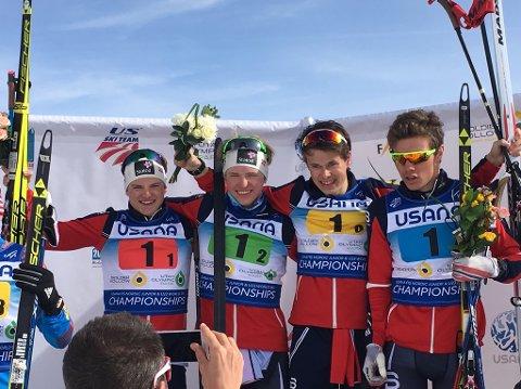 GULLGUTTER: Her er gutta som sørget for en knallavslutning for Norge i junior-VM. Fra venstre: Herman Martens Meyer, Jon Rolf Skamo Hope, Harald Østberg Amundsen og Thomas Helland Larsen.
