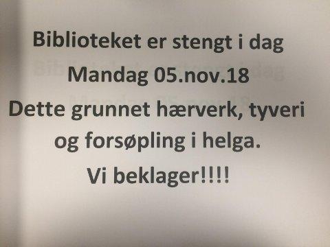 Biblioteket på Sørumsand ble stengt etter hærverk i helgen.