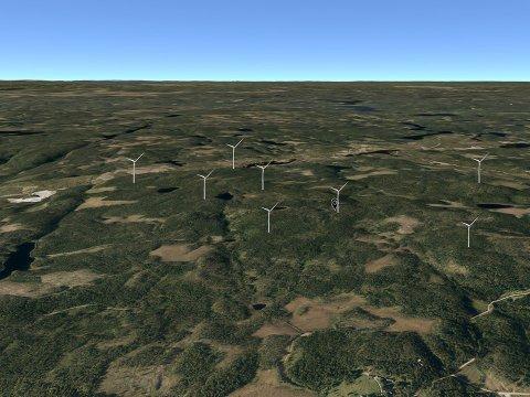Slik er vindmøllene tenkt plassert i terrenget på Setskog. Kartmontasje: Scanergy