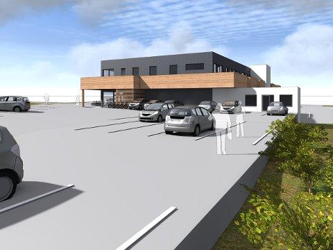 Slik blir bygget seende ut når det står klart, med matbutikk i første og leiligheter i andre etasje..