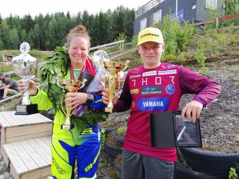 DOBBELT GULL: Irene Askeland og Benjamin G. Bernhus vant hvert sitt gull i Norgescupen i enduro i helga. BEGGE FOTO: PRIVAT