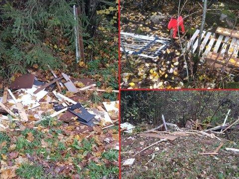 SØPPEL: Dette er noe av søppelet som ligger rundt omkring i Askim.