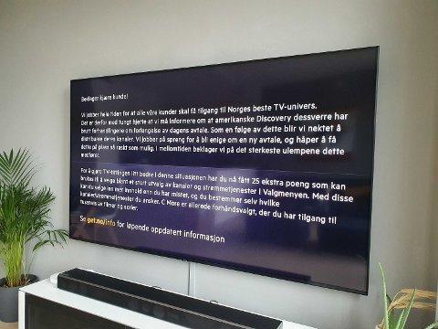 BESKJED TIL GET-KUNDER: Denne meldingen dukket opp på TV-en til Get-kundene før avtalen trer i kraft. Foto: Alexander Winger