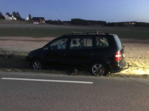 KJØRTE UT: 31-åringen blåste rødt etter å ha kjørt i grøfta på Løken.