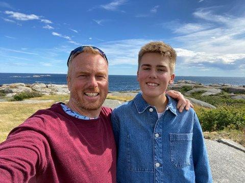 FAR OG SØNN: Jo Dale og sønnen Erik trives i friluft. Fysisk fostring har vært og er fortsatt viktig for jubilantens liv.