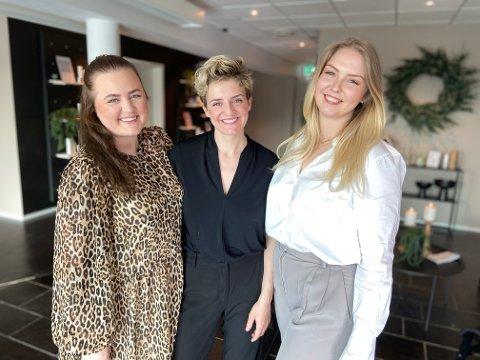 GODT SAMARBEID: Maren Fallet (t.v.), Stine Slemdal og Siri Stokkebekk har åpnet hudpleiesalongen «Lille Himmel» og er stolte av det de har fått til.