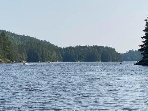 Politiet patruljerte flere  innsjøer i helgen, deriblant Skulerudsjøen. Det resulterte i en rekke forelegg knyttet til høy hastighet, manglende redningsvest og manglende båtførerprøve. Foto: Politiet