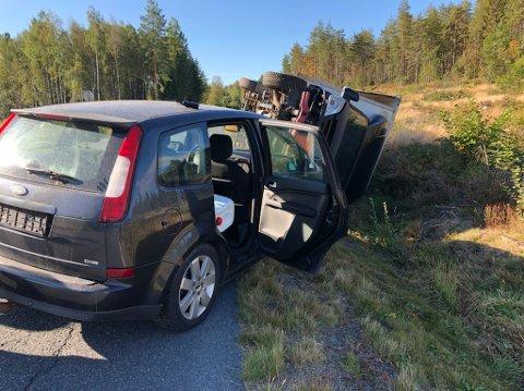 Øvelsen på Harkerud simulerer en ulykke mellom personbil og lastebil.