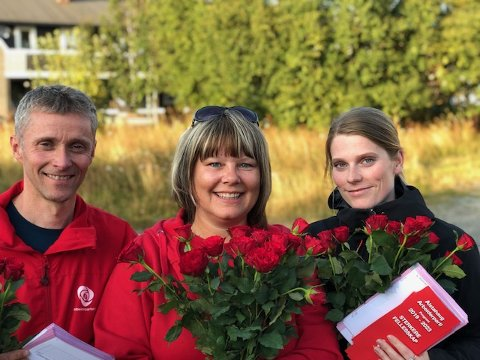 Ordførerkandidat i Alstahaug Arbeiderparti, Ole-Gerhard Rinø, organisatorisk nestleder, Anne Britt Breivik og nestleder Anette Davidsen (t.h.), gleder seg til besøket fra Fellesforbundet førstekommende onsdag.