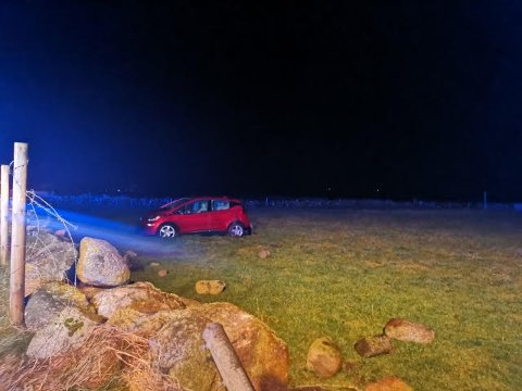 HAVNET HER: Bilen snurret rundt og havnet på et jorde ved Bore natt til lørdag.