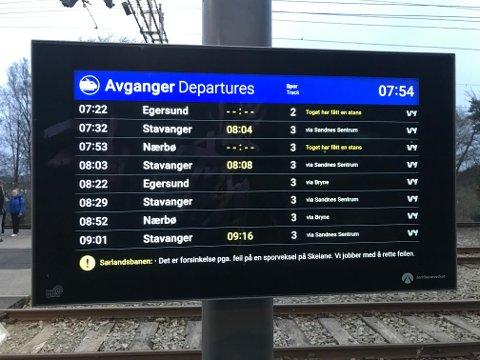FORSINKET: Slik så informasjonstavlen på Klepp stasjon ut klokken 07.54 onsdag morgen.