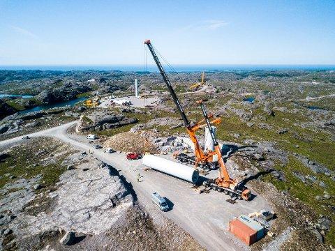 Bygging: Bjerkreim vindpark ligg i Hå og Bjerkreim. Bygginga syner frå mange av toppane rundt.