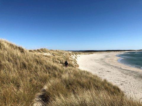 IKKJE NATURISTSTRAND: Nordre del av Orrestranda har i mange år blitt oppfatta som naturisttrand utan å vera det. Mannen på biletet hadde på seg caps og sekk, ingenting anna, og gjekk eit godt stykke heilt i kanten av sanddynene.