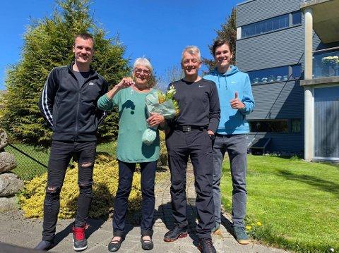 Else Storhaug sammen med Gjert Ingebrigtsen, Henrik Ingebrigtsen og Jakob Ingebrigtsen.