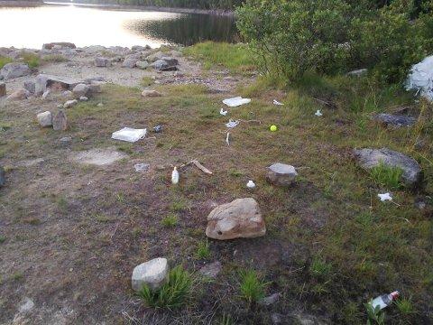 IKKE PENT: Karene ryddet ikke opp etter seg da de forlot festen ved Øksnevannet. I høyre billedkant skimtes restene av partyteltet.