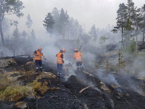 Telemark: Sivilforsvaret i aksjon på Øysteinstul.      Foto: John Einar Oterholt