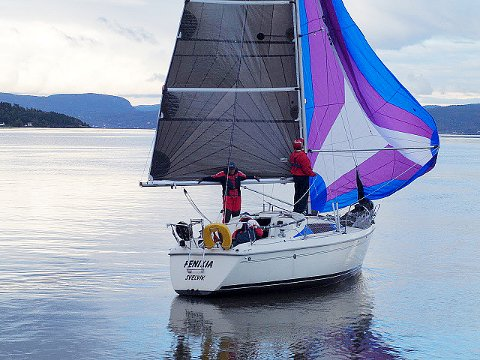 Sju seirer: Sju onsdager i sommer har Svenn Petter Andersen og hans mannskap Ole Lønseth og Jan Eriksen kunnet juble. Foto: Holmestrand seilforening