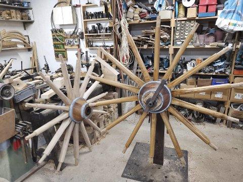 Restaurering av kanonene på Eidsfoss Hovedgård: Arbeidet med de store hjulene pågår hos en spesialist i Danmark. Alle Foto: Ivan Bak