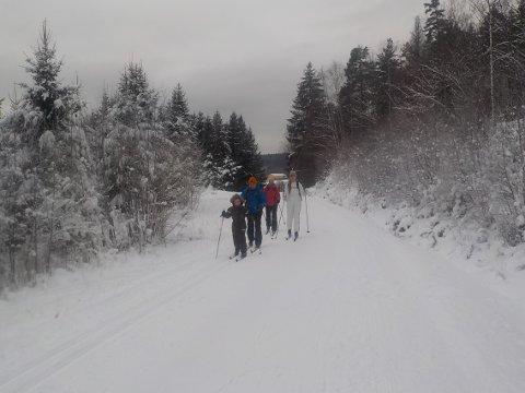 SISTE MULIGHET? Denne Tønsberg-familien tok skituren fra Berg ved Eidsfoss søndag.