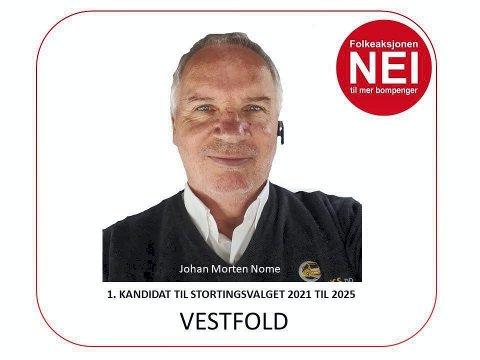 1. kandidat for FNB: Johan Morten Nome, kjent fra «rivingen» av Sandebommen, er partiet sin førstekandidat til høsten. Foto: Privat