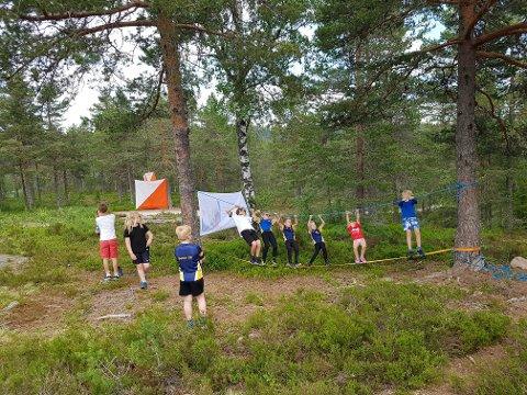 Balansemoro: Balansegang, sisten og gjemsel hører også med når det er samling for de yngste i orienteringsgruppa. Foto: Privat