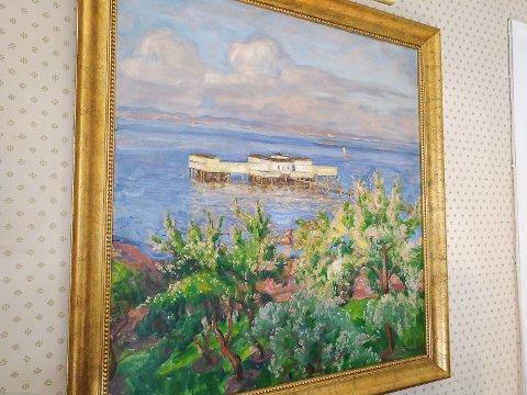 """BADEHUSET: """"Det hvite badehuset"""" er tittelen på maleriet malt av Thorolf Holmboe."""