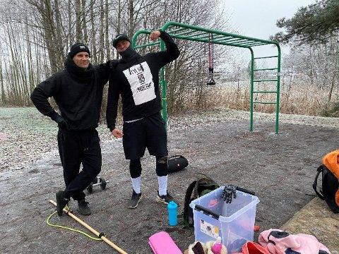 TRENINGSLØSNING: John Are Wiig og Raymond Ove Kolsvik kler godt på seg for å få trent ute så lenge treningssentrene i Ullensaker holder stengt.