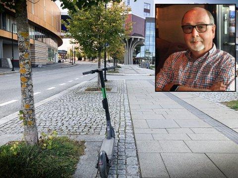 BEKYMRET: Jessheimbeboer Tor Martin Ødegaard mener det er vanskelig å desinfisere håndtakene på de elektriske sparkesyklene mellom hver bruker.